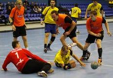Handballspiel Ukraine gegen die Niederlande Stockbild