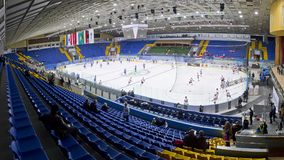 Palace of Sports in Kyiv during Ice Hockey game Royalty Free Stock Images