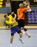 Handballspiel Ukraine gegen die Niederlande Lizenzfreie Stockfotos