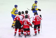 Ice Hockey 2017 World Championship Div 1 in Kyiv, Ukraine. KYIV, UKRAINE - APRIL 25, 2017: Players of Austria National Team react after scored a goal during IIHF Royalty Free Stock Photography