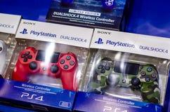 Kyiv, Ukraine - April 12, 2019: Playstation  Dualshock 4 Controllers for sale. Playstation  Dualshock 4 Controllers for sale stock images