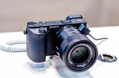 Kyiv, Ukraine - April 12, 2019: Sony Alpha 6000 at the exhibition. Sony Alpha 6000 at the exhibition stock photos