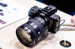 Kyiv, Ukraine - April 12, 2019: Sony Alpha A7 III at the exhibition. Sony Alpha A7 III at the exhibition royalty free stock photo