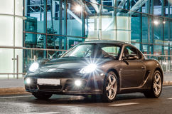 Kyiv, Ukraine - April 4th, 2014: Night photoshoot of Porsche Cayman near Boryspil Airport Royalty Free Stock Photo