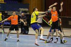 Handballspiel Ukraine gegen die Niederlande Stockfoto