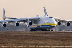 Kyiv, Ukraine - April 3, 2018: The world s largest aircraft, the Mriya Antonov An-225 cargo plane, prepares to take off. From the Antonov plant`s airdrome royalty free stock images