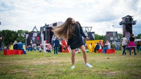 Kyiv, Ukraine - 07.09.2019: Atlas Weekend music festival outdoors, first day. Millennials are relaxin at music festival royalty free stock images