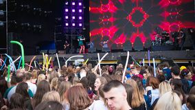 Kyiv, Ukraine - 07.09.2019: Atlas Weekend music festival outdoors, first day. Millennials are relaxin at music festival royalty free stock image