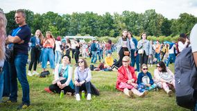 Kyiv, Ukraine - 07.09.2019: Atlas Weekend music festival outdoors, first day. Millennials are relaxin at music festival royalty free stock photo