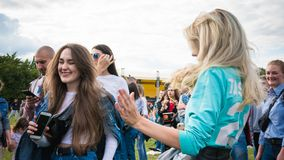 Kyiv, Ukraine - 07.09.2019: Atlas Weekend music festival outdoors, first day. Millennials are relaxin at music festival royalty free stock photos
