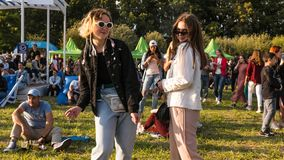 Kyiv, Ukraine - 07.09.2019: Atlas Weekend music festival outdoors, first day. Millennials are relaxin at music festival stock photo
