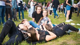 Kyiv, Ukraine - 07.09.2019: Atlas Weekend music festival outdoors, first day. Millennials are relaxin at music festival stock image