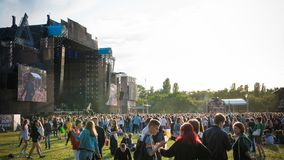 Kyiv, Ukraine - 07.09.2019: Atlas Weekend music festival outdoors, first day. Millennials are relaxin at music festival stock photos