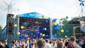 Kyiv, Ukraine - 07.09.2019: Atlas Weekend music festival outdoors, first day. Millennials are relaxin at music festival stock photography