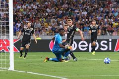 UEFA Champions League play-off: FC Dynamo Kyiv v Ajax. KYIV, UKRAINE - AUGUST 28, 2018: AFC Ajax defenders and goalkeeper Andre Onana defend their net during the stock image