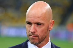 UEFA Champions League play-off: FC Dynamo Kyiv v Ajax. KYIV, UKRAINE - AUGUST 28, 2018: AFC Ajax manager Erik Ten Hag looks on during the UEFA Champions League stock images