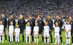 UEFA Champions League play-off: FC Dynamo Kyiv v Ajax. KYIV, UKRAINE - AUGUST 28, 2018: AFC Ajax players listen to Champions League anthem before the UEFA royalty free stock photo
