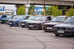 KYIV, UKRAINE - August 7, 2017: BMW e30 stand in the lineup at the exhibition.  Stock Image