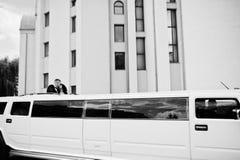 Kyiv, Ukraine - August 31: Elegance white wedding limousine Humm Stock Photo