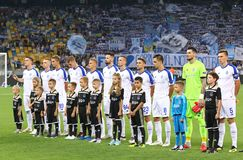 UEFA Champions League play-off: FC Dynamo Kyiv v Ajax. KYIV, UKRAINE - AUGUST 28, 2018: FC Dynamo Kyiv players listen to Champions League anthem before the UEFA stock photos