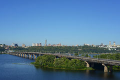 Kyiv, Ukraine - August 16, 2015: Kyiv cityscape. View of the bridge over the Dnipro from a height Stock Photography