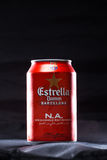 KYIV, UKRAINE, AUGUST 2017: Maybe Estrella Damm beer. Estrella Damm - Pilsner beer brewed in Barcelona, Catalonia, Spain. This is the official beer of FC Royalty Free Stock Image