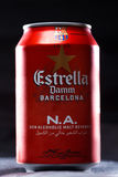 KYIV, UKRAINE, AUGUST 2017: Maybe Estrella Damm beer. Estrella Damm - Pilsner beer brewed in Barcelona, Catalonia, Spain Royalty Free Stock Images