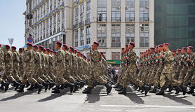 Kyiv, Ukraine - August 24, 2014: Military men marching during the parade of the Independence Day of Ukraine on the main square of Royalty Free Stock Photos