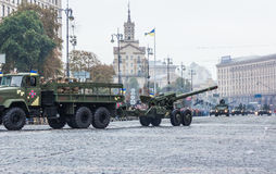 KYIV, UKRAINE - AUGUST 24, 2016: Military parade in , dedicated to the Independence Day of . KYIV, UKRAINE - AUGUST 24, 2016: Military parade in Kyiv, dedicated Royalty Free Stock Photo