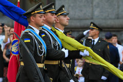 KYIV, UKRAINE - AUGUST 24, 2016: Military parade in Kyiv, dedicated to the Independence Day of Ukraine. Ukraine celebrates 25th an royalty free stock photos