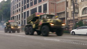KYIV, UKRAINE - AUGUST 22, 2016: MRL BM-21 Grad driving near Poshtova ploshcha stock footage