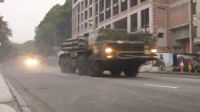 KYIV, UKRAINE - AUGUST 22, 2016: MRL BM-30 Smerch 9A52-2 driving near Poshtova ploshcha stock footage