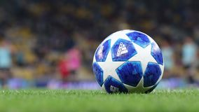 Official UEFA Champions League 2018/19 season match ball on the grass. Kyiv, Ukraine - August 27, 2018: Official UEFA Champions League 2018/19 season match ball stock footage