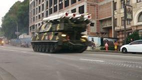 KYIV, UKRAINE - AUGUST 22, 2016: SAM 9K37M1 Buk driving near Poshtova ploshcha. KYIV, UKRAINE - AUGUST 22, 2016: Air defence surface-to-air missile system SAM stock footage