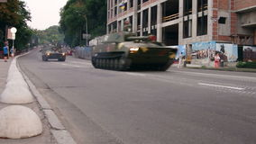 KYIV, UKRAINE - AUGUST 22, 2016: SPA 2S1 Gvozdika driving near Poshtova ploshcha stock video footage