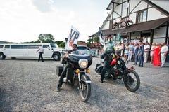 Kyiv, Ukraine - August 31: Two bikers accompanying wedding limou Royalty Free Stock Photos