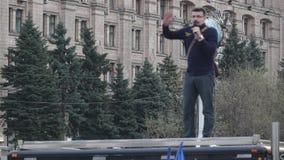 Kyiv, Ukraine 9 avril 2019 Activistes et défenseurs du parti politique national de corps assister à un rassemblement pour exiger  banque de vidéos