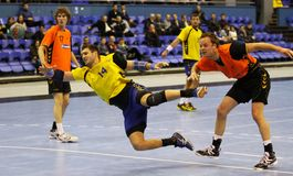 Jeu Ukraine de handball contre les Pays Bas Image stock