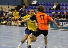 Jeu Ukraine de handball contre les Pays Bas Images libres de droits