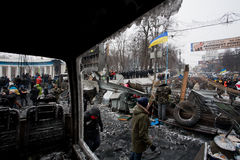 KYIV, UKRAINE: Barricades separated revolutionaries and the policemen on the occupying snow street during anti-government riot Royalty Free Stock Photography