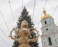 KYIV, UKRAINE: Christmas tree and didukh at the Sofia Square in Royalty Free Stock Images