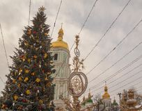 KYIV, UKRAINE: Christmas tree and didukh at the Sofia Square in Stock Photos