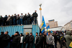 KYIV, UKRAINE: Crowd of the demonstrators occupying trailers standing on anti-government demonstration Stock Photo