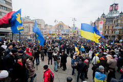 KYIV, UKRAINE: Crowd of 800,000 protestors of anti-government demonstration walking arond city center Stock Photo
