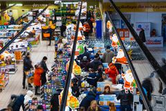 Kyiv, Ukraine - December 8, 2018: View from above at supermarket Varus at Ukraine. royalty free stock photo