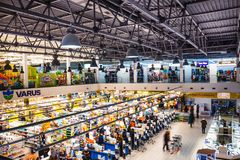 Kyiv, Ukraine - December 8, 2018: View from above at supermarket Varus at Ukraine. stock photos