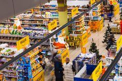Kyiv, Ukraine - December 8, 2018: View from above at supermarket Varus at Ukraine. royalty free stock photos