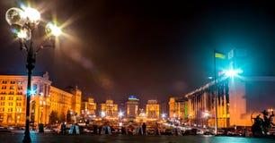 KYIV, UKRAINE - 18. DEZEMBER 2015: Unabhängigkeits-Quadrat - der zentrale Platz von Kyiv Im Jahre 2013 fanden die Hauptereignisse Lizenzfreies Stockfoto