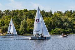Kyiv Ukraine, the Dnieper River August 25, 2019. People sail on yachts that are rented at Yacht Club, where people can rent yachts