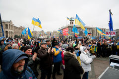 KYIV, UKRAINE: Emotional crowd of people occupide  Royalty Free Stock Photos